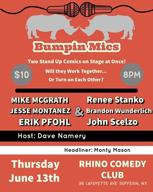 Big Happy Hour show this week! Come out to catch @rhinos_are_funny favorite, @monty.mason.16, headlining a tag team comedy show. Don't miss this one! . . . . #comedy #comedians #thursday #suffern #rockland #week #happyhour #drinks #standup #sketch #local #cheap #entertainment #live #jokes #lol