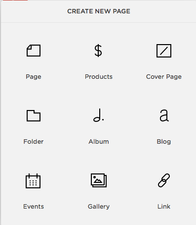 """Squarespace """"Create New Page"""""""