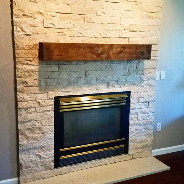 Here's a photo of our most recent stone fireplace installation.  Contact us if you want your fireplace transformed with beautiful and durable Eldorado Stone.