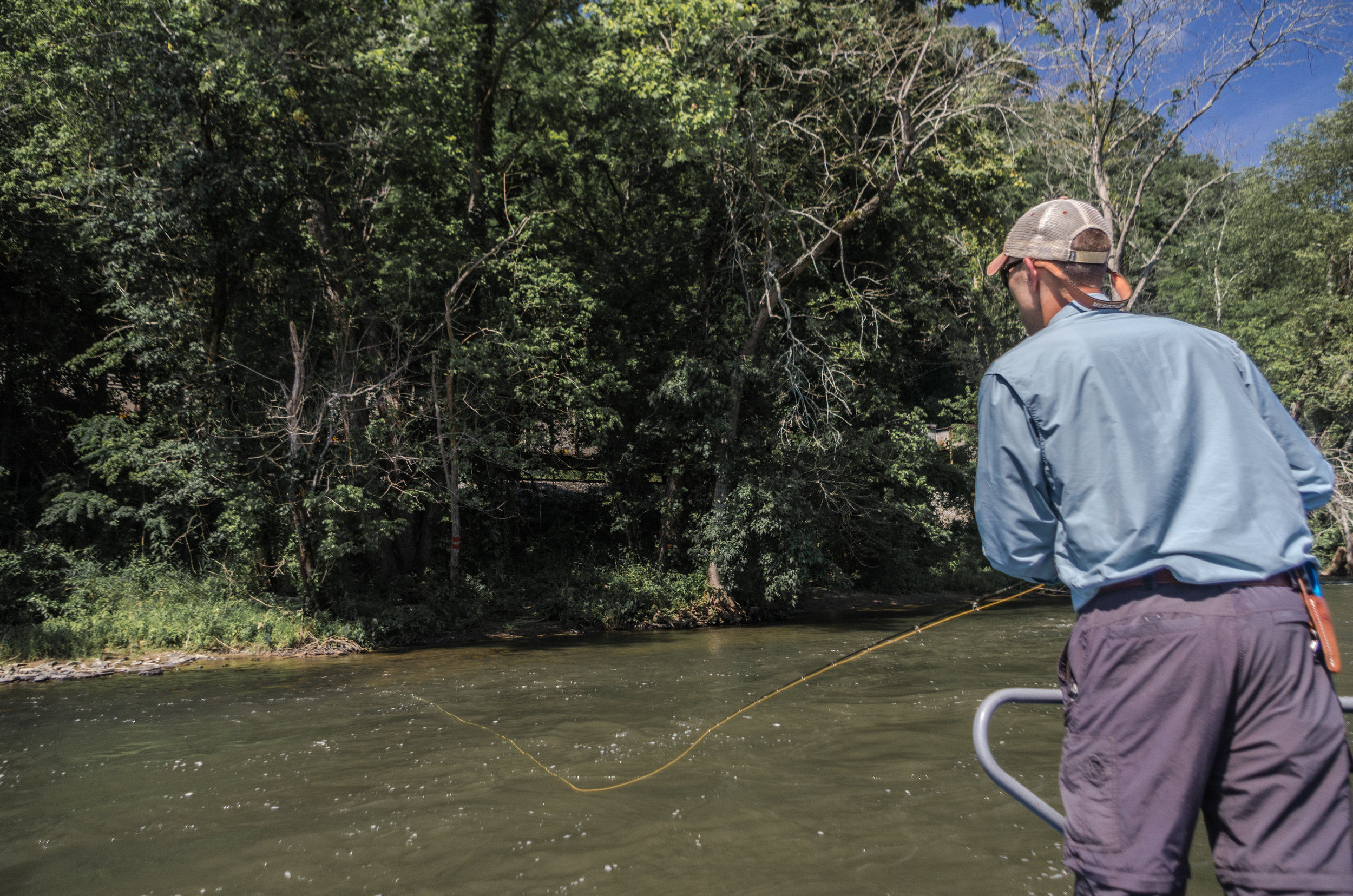 Popping bugs against the bank make for great summer top water action on the French Broad River, Asheville, North Carolina