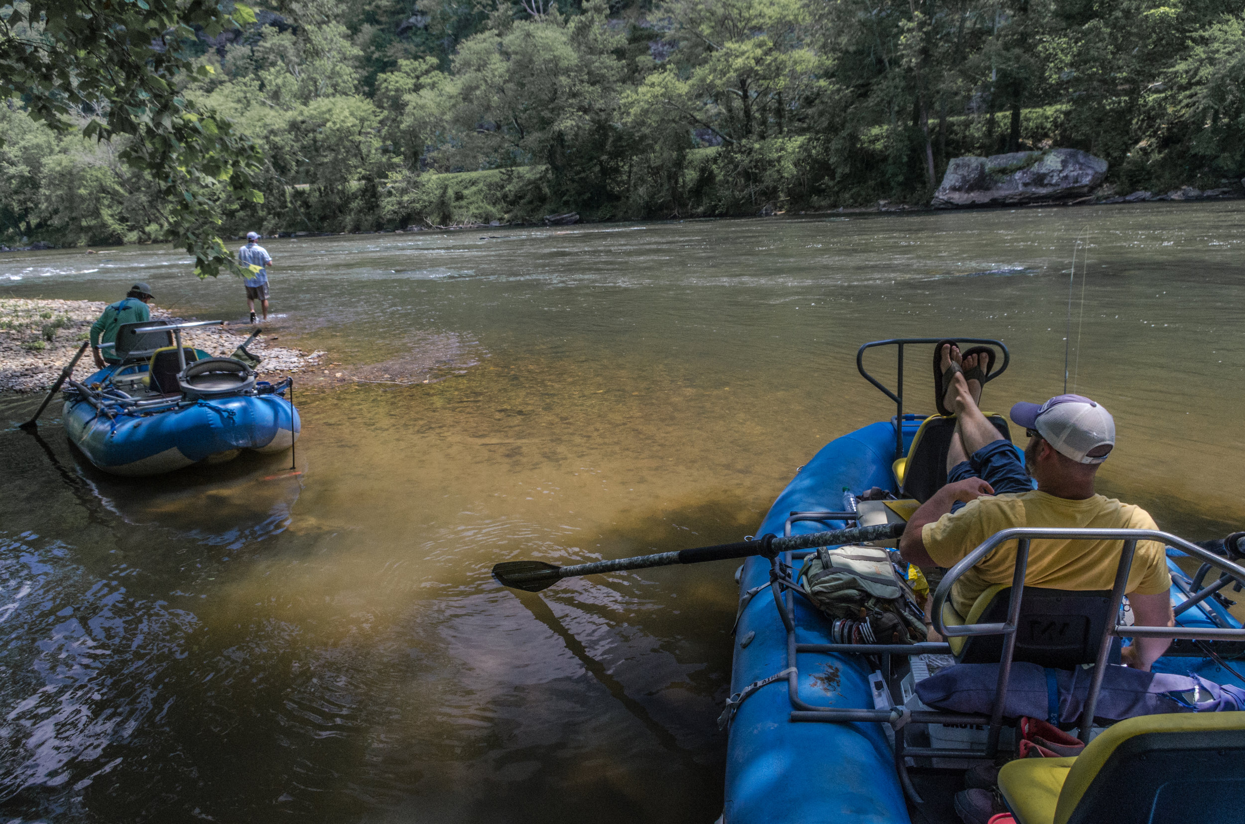 Pull into the shade and take a break from the summer sun on the French Broad River, Asheville, North Carolina