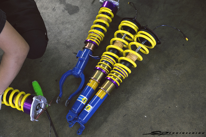 With Sean's past/current GT-R's lowered on Eibach and Swift springs, he became fond of the height adjustability function and pulled the trigger on a set of KW Sleeve's.