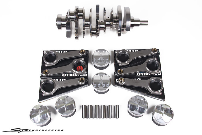We are proud to announce our VR38DETT 4.1L stroker kit for the 2009-2015 Nissan R35 GT-R. This is a .3L increase over the factory engine producing more low to mid range torque reducing turbo lag and improving boost response. Our crankshaft features a REM Isotropic Superfinish. The REM process is an isotropic surface finishing process that produces a non-linear, low Ra finish that improves wear properties and reduces friction. In the Motorsports world, numerous engine parts are REM finished. Bryant Racing is the only crankshaft manufacturer to offer the true REM finish (in house) in the industry. The crank also features scalloping as well as knife edged counterweights to reduce weight and increase crankshaft aerodynamics which comes standard on 3 of our SPE power packages – SPE1400R, Godzilla and Kaiju (coming soon).  Features:  SPE CP Pistons: 95.50mm Bore, 10.5:1 Compression, Skirt Coating  SPE CP Pistons Upgraded Wrist Pins (1600HP+)  SPE Carrillo Rods (H Beam)  SPE Bryant Racing Billet Crankshaft: REM, Knife Edged  Rod Bearings