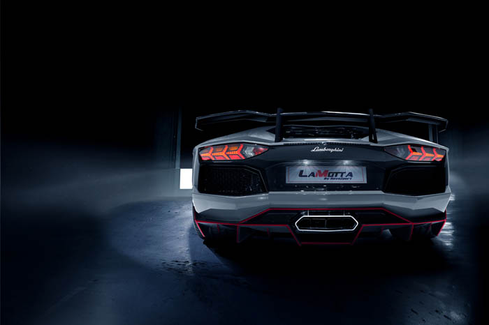 """""""To achieve this, RevoZport first shed 80kg off the original LP700 from 1600kg to just 1520kg with the use of pre-preg carbon fibre hood which weight only 3kg,a pair of nicely stitched Alcantara carbon fibre seats similar to the LP670 SV, carbon door panels, a new set of rear bumper and air tunnel all contributed to this diet program. The aerokit comprises of a front extended lip with canards, side skirts, complete rear bumper with a more aggressive air tunnel design and the trunk spoiler.""""– RevoZport"""