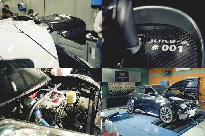 A complete transfer of the engine and drivetrain take place along with gauge cluster, new fender flares and carbon fiber accents are then adorned onto the Juke chasis.  Juke-R #003: SPE1000R Package – SPE 4.0L Race Engine – ETS GT3076R Turbo Kit – SPE Spec Greddy Intercooler Kit – Sheptrans Stage 3 Transmission – PPG gear sets – Toyo R888 – Volk Racing G12 – Syvecs S8 GT-R (Ryan G)