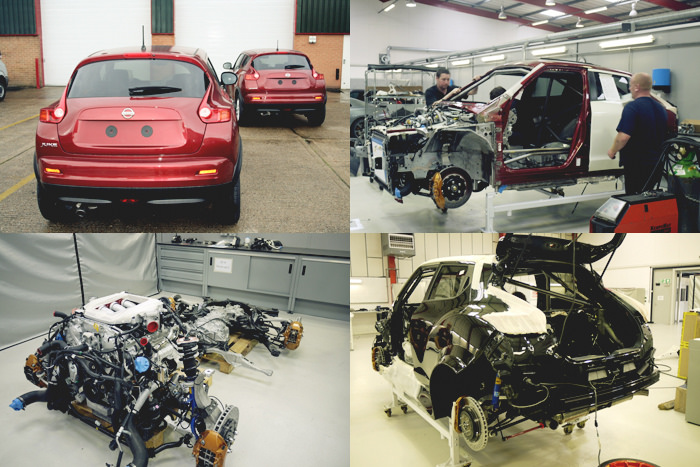 In the following picture you can see the build process taking place, from the original Nissan JUKE to the build-up to what is known as the JUKE-R  Juke-R #001: SPE950R Package – SPE950 OEM modified cartridges – SPE 3.8L Race Engine – SPE Spec Greddy Intercooler Pipe Kit – ETS Intercooler – SPE Stage 3 Transmission + PPG Gear Set – Toyo R888