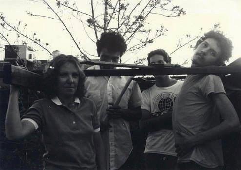 Paris 1942 circa 1982. L to R: Moe Tucker, Alan Bishop, Richard Bishop, Jesse Srogoncik (photo by Holiday)