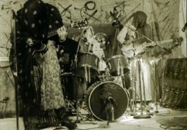 Sun City Girls circa 1983. L to R: Richard Bishop, Charles Gocher, Alan Bishop (photo by Holiday)