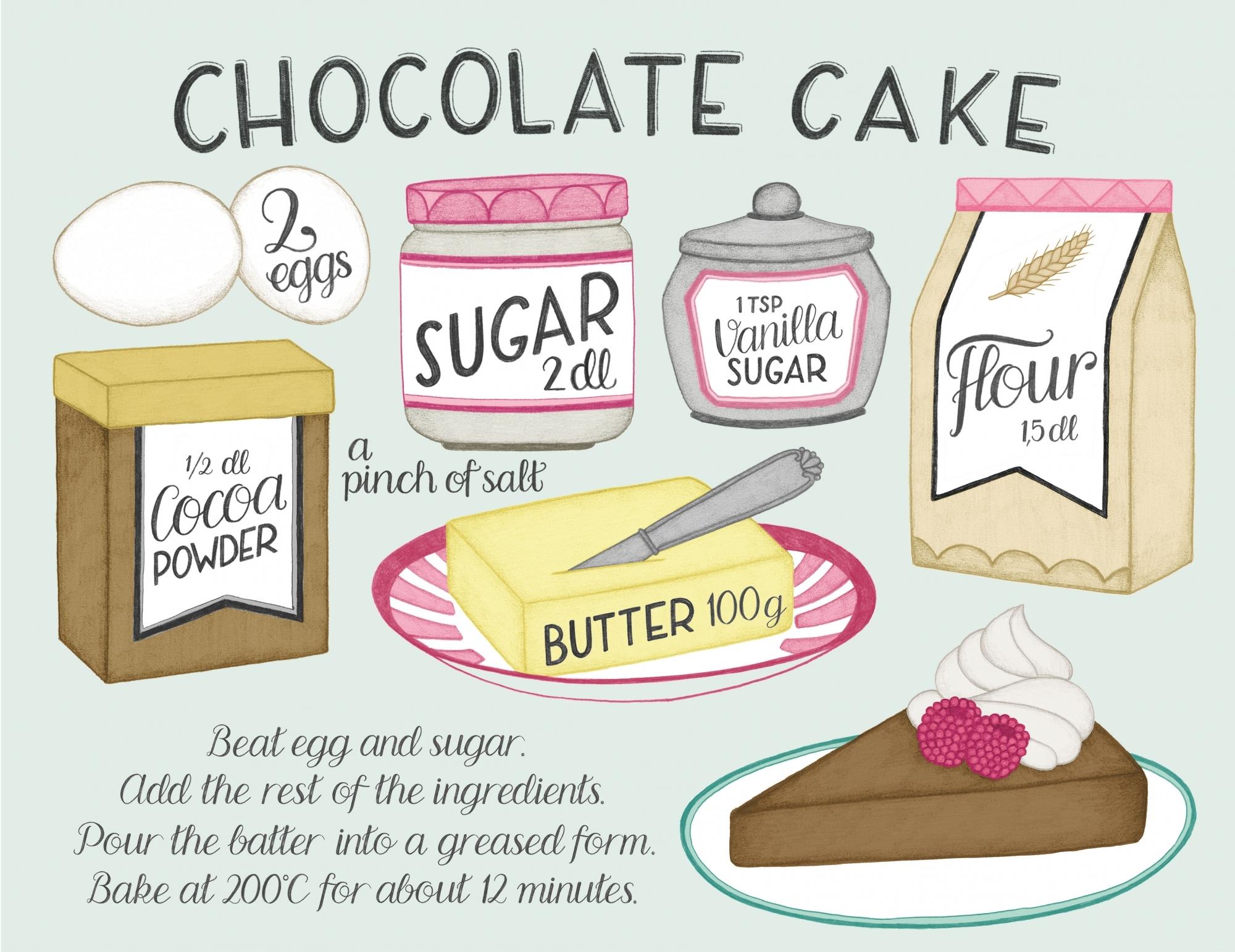 Chocolate cake recipe illustration by  Tove Larris .