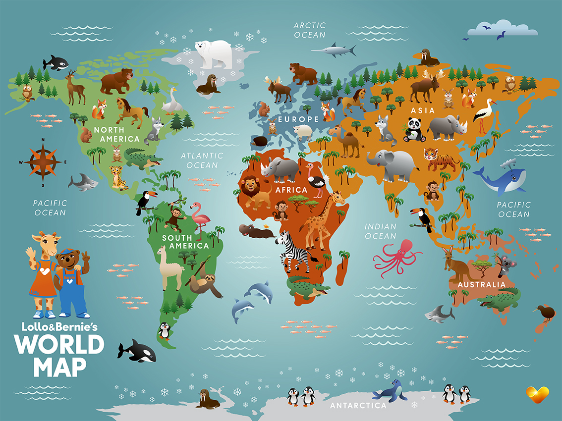 L&B World Map Poster 30x40 cm