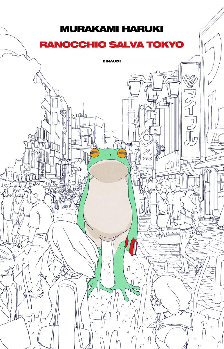 "Draft di copertina per ""Ranocchio salva Tokyo"", di Haruki Murakami."