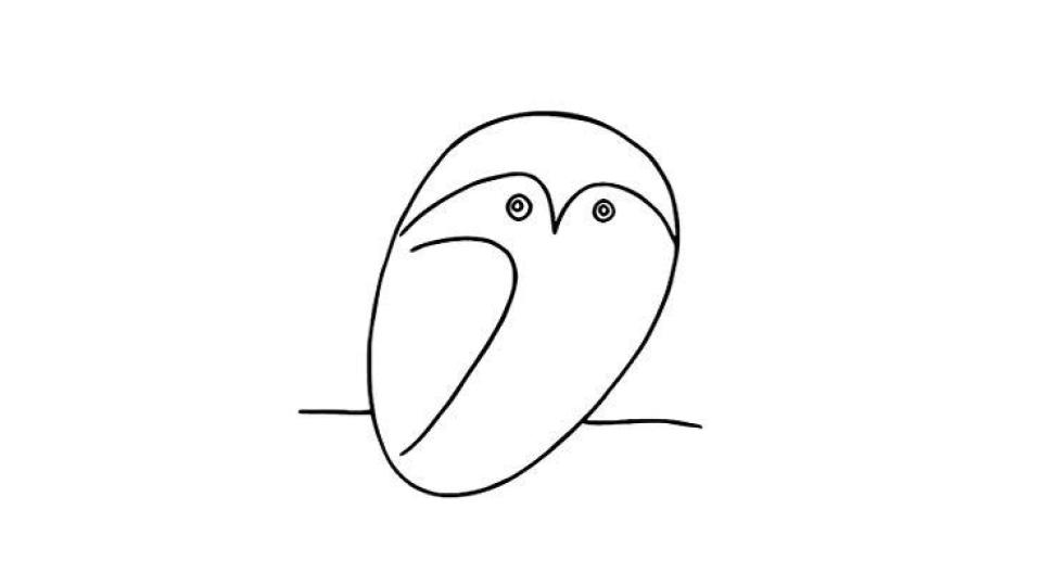 Una civetta disegnata da Picasso.