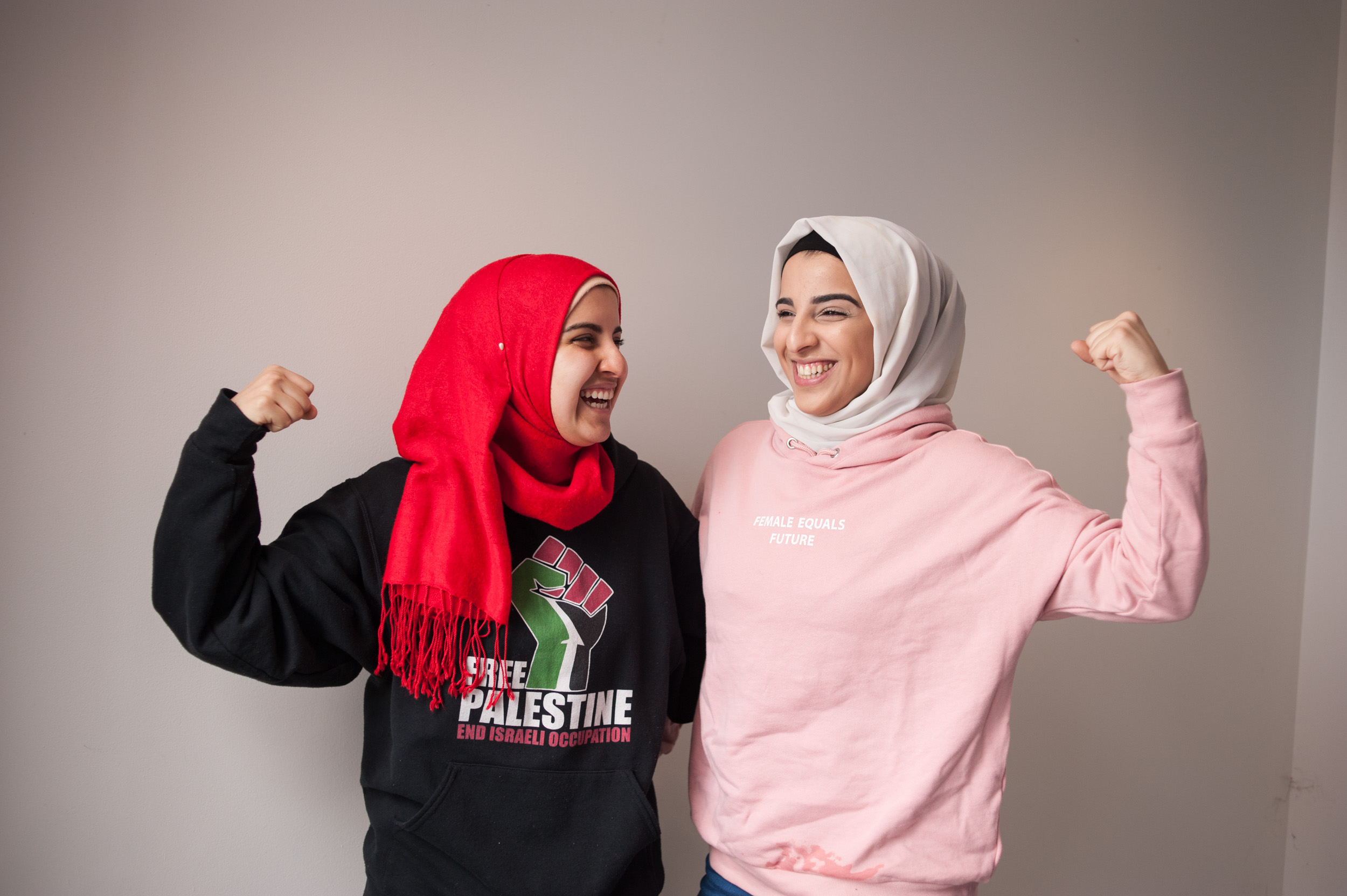 Activist Essma Bengabsia with her sister at the Women's March On NJ