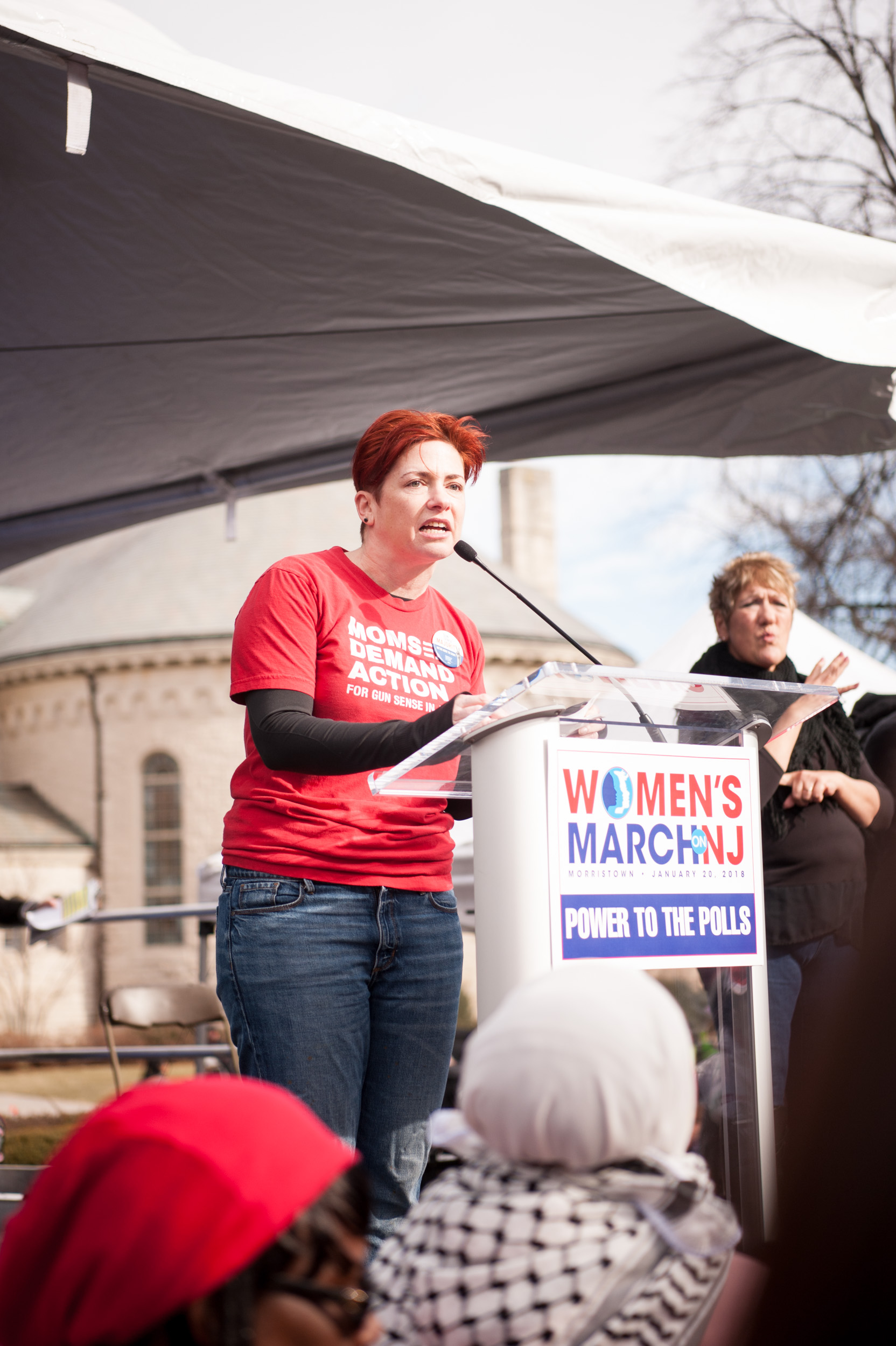 """Brett Sabo speaking on behalf of Mom's Demand Action for Gun Sense in America. She said of her shaking voice, """"It doesn't shake because I'm nervous. It shakes because I'm angry."""""""