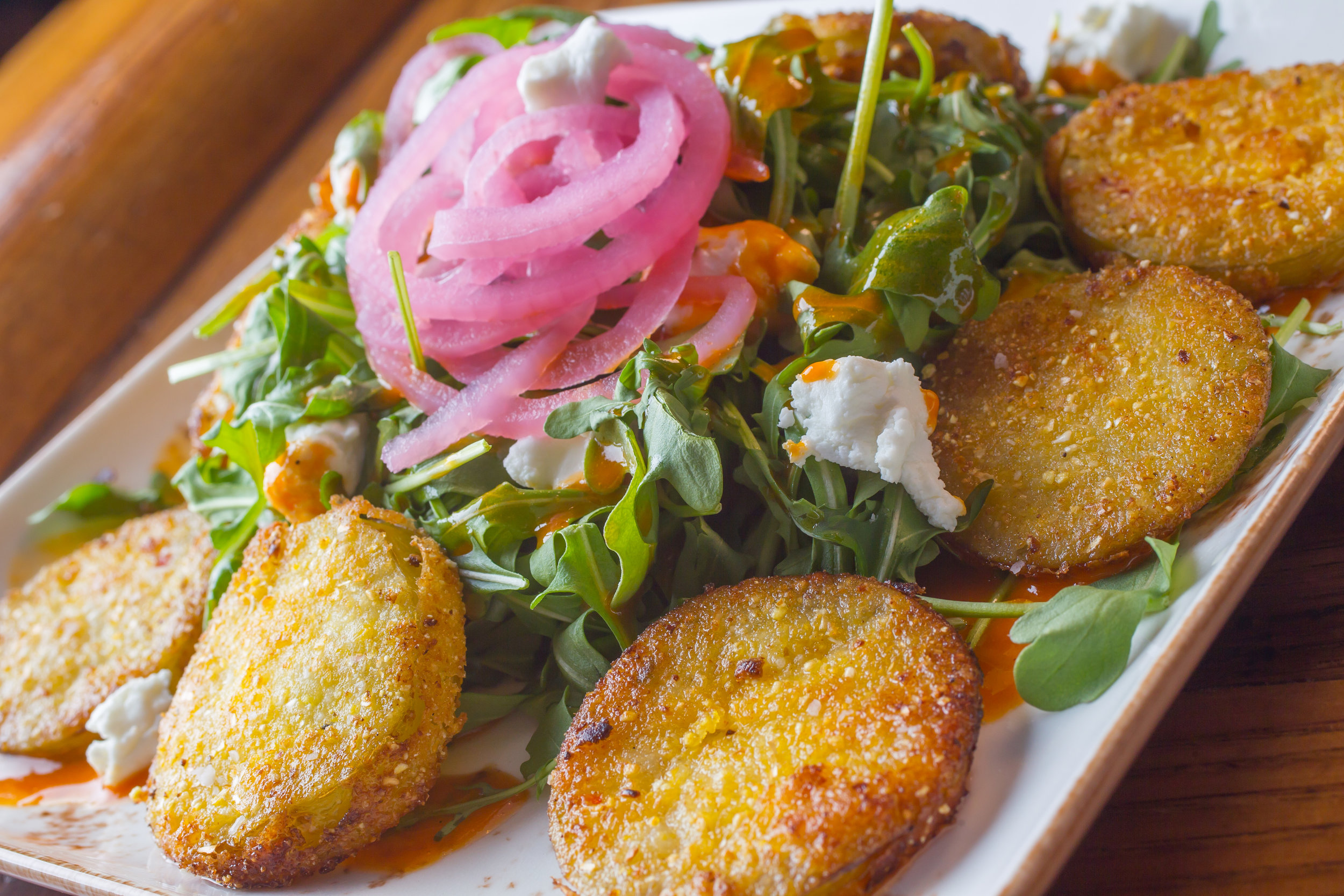 Cornmeal Fried Tomatillos & Baby Arugula