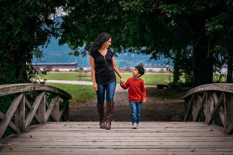 Mom with kid family photo outside beautiful photo Jericho Beach, Vancouver