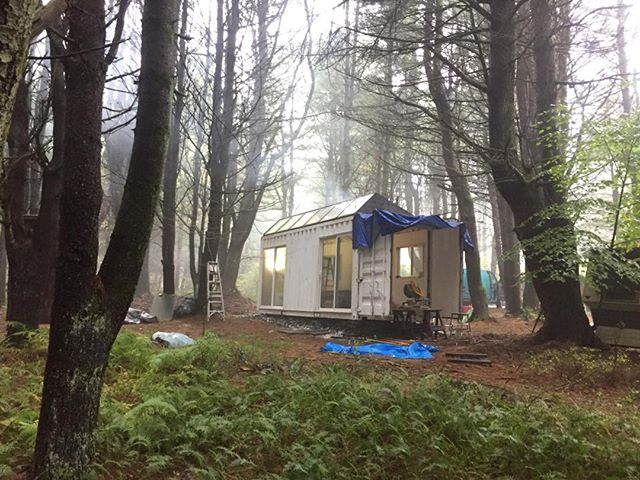 #Contanium #Sawtooth #cabin finds a new home in the woods near the #Woodstock festival site #container #prefab #eco #offgrid