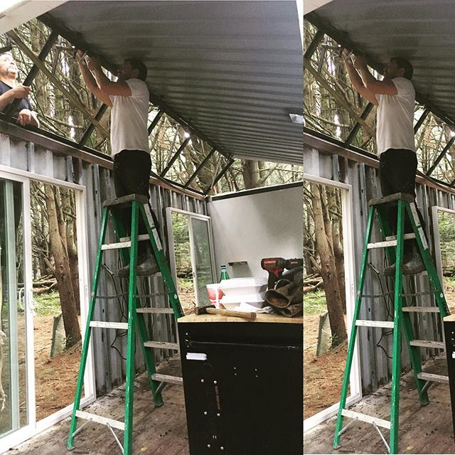 Who doesn't like the quality of ambient light in the woods? Putting the oversized #skylight into the new #Sawtooth #container #cabin near the #woodstock festival site #ecofriendly #offgrid #metalwork #cabinlife