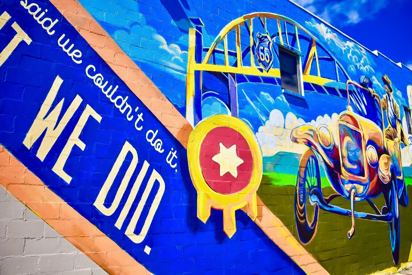 Art & Culture - True to the history of Route 66, the Meadow Gold District is in a constant state of artistic development. Outdoor murals and wall art are the heart of the community.