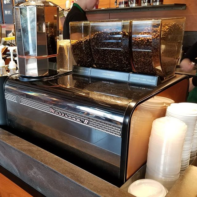I just happened upon a Starbucks with the updated version of the Mastrena. Hello Mastrena II! Very cool looking. I like that it has 3 hoppers. #innovation #Seattle