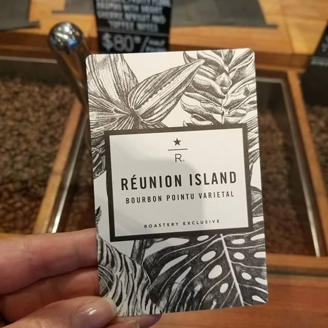 Roastery exclusive!! Reunion Island Bourbon Pontu. Delicate, with fruity floral aroma with bright cherry, apricot and toffee notes! Very limited and $80 a half pound! #starbucksreserve