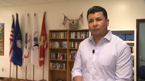 HomeFirst COO Rene Ramirez talks with Telemundo 48 about the services available to those in need at the Boccardo Reception Center   shelter in San Jose.
