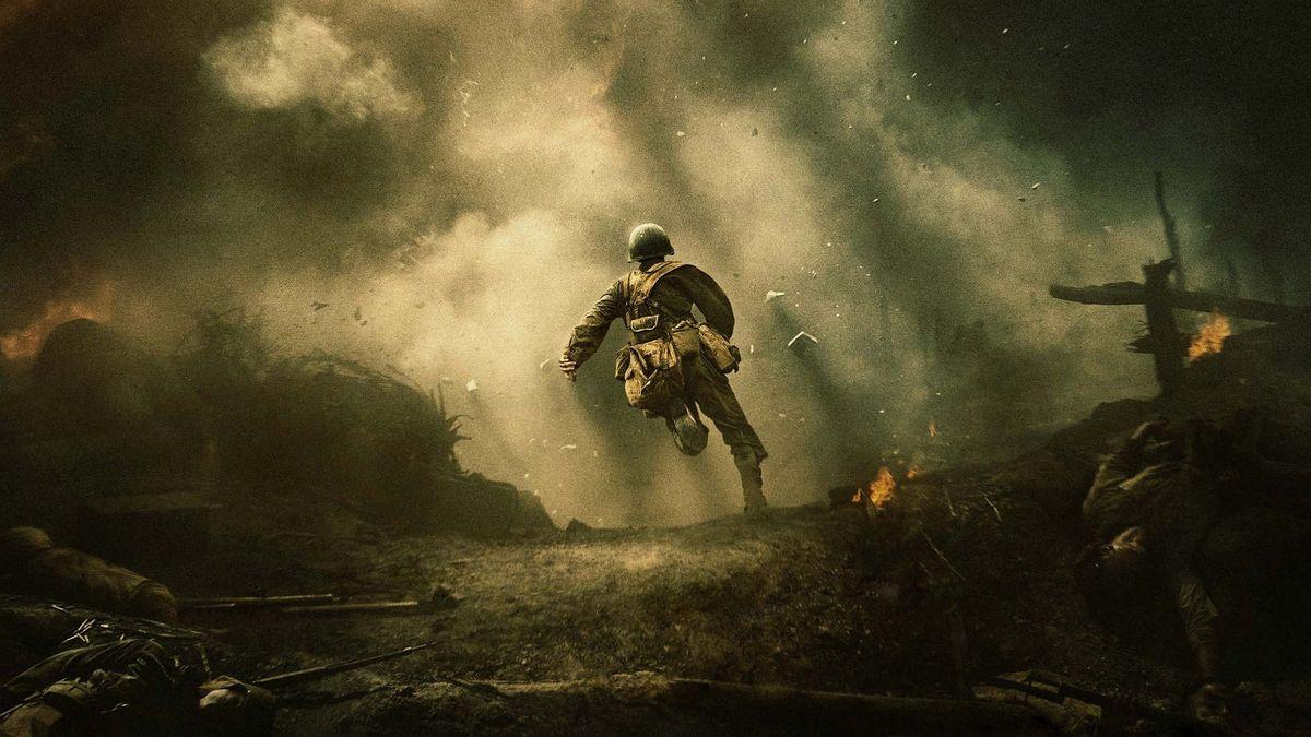 Andrew Garfield runs through the melee in Hacksaw Ridge