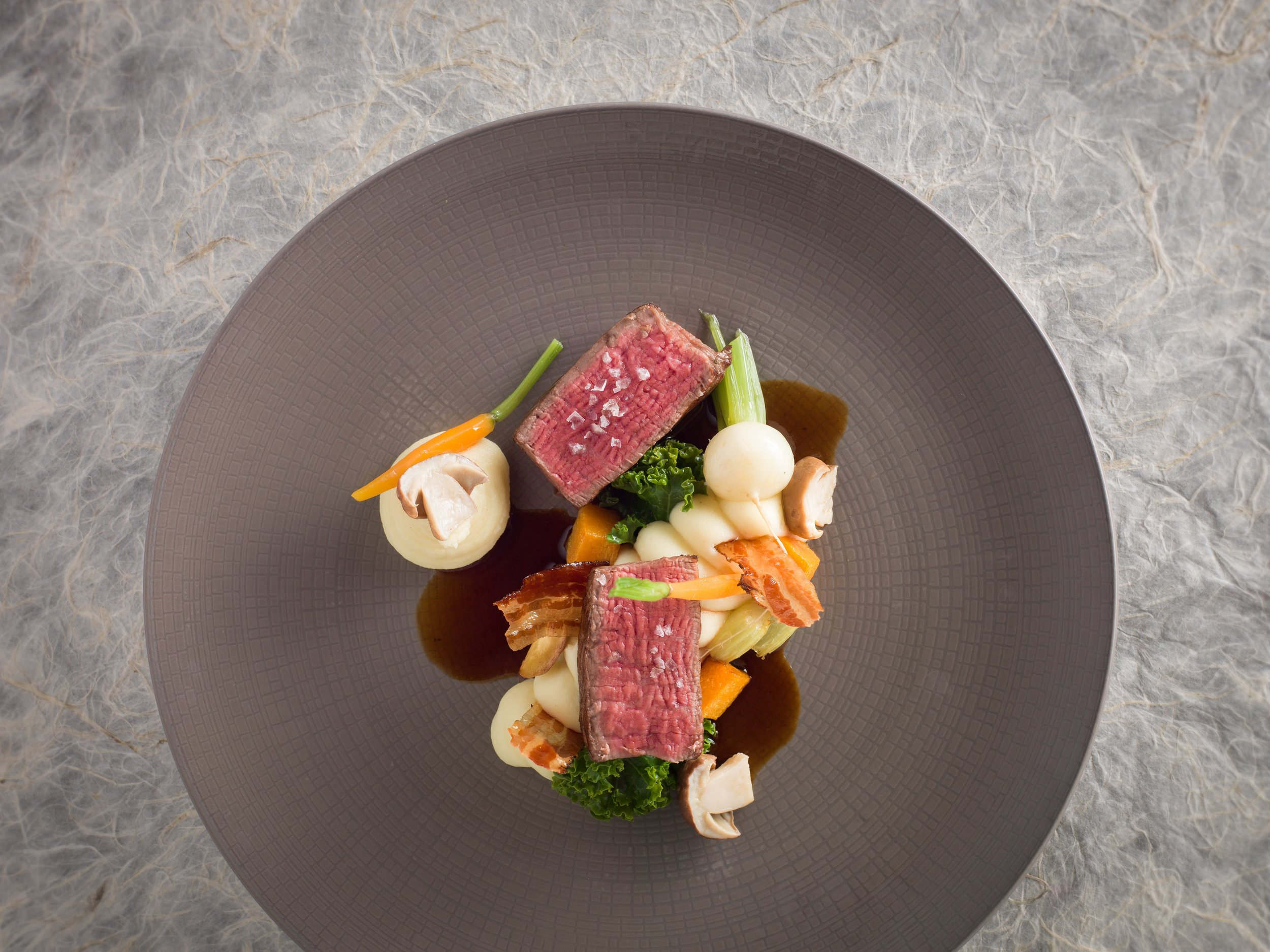 Roast Fillet of Beef with Pomme Purée, Cep Mushrooms, Crispy Pancetta and Baby Carrots-min.jpg