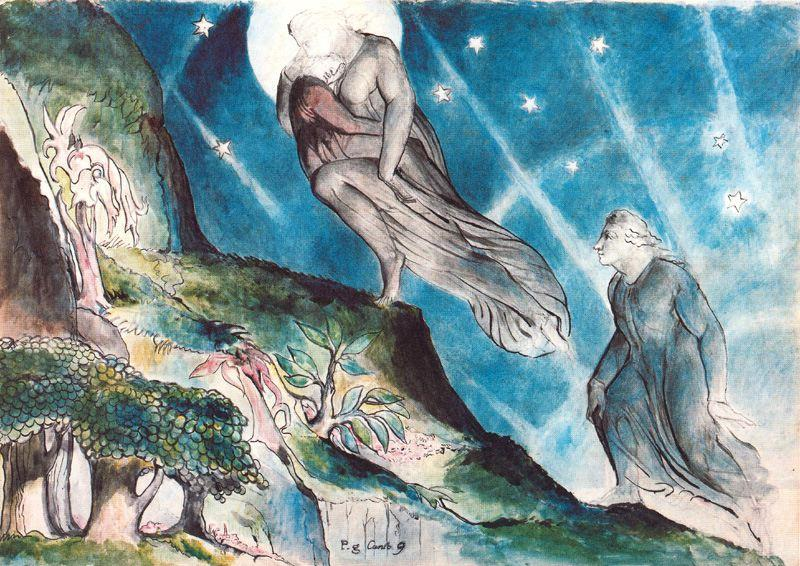 Lucia take Dante to the entrance of Purgatory, by William Blake