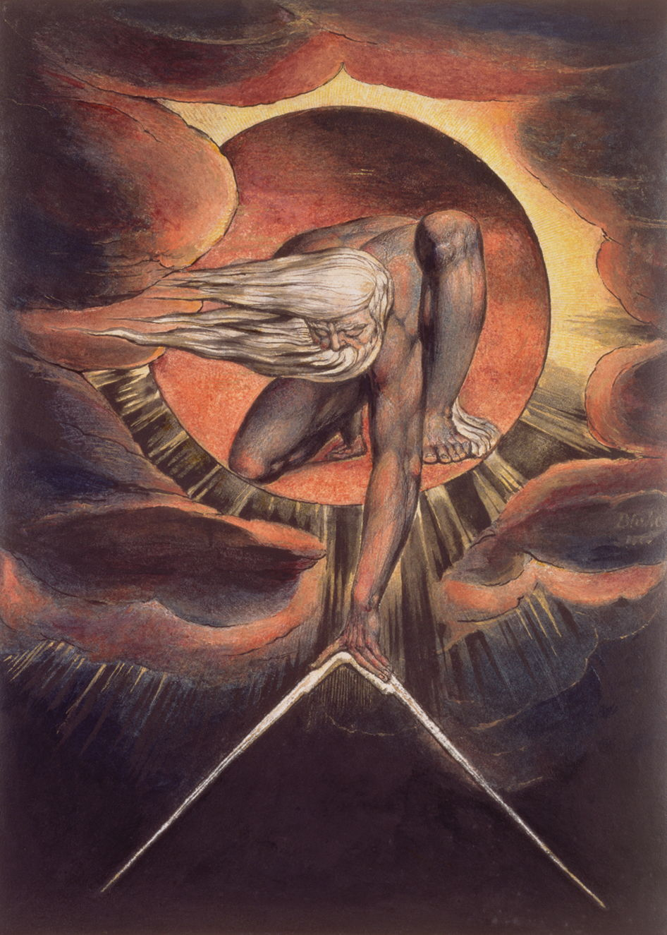 "William Blake's ""Ancient of Days"" (relief etching with watercolor), 1794.   British Museum, London."