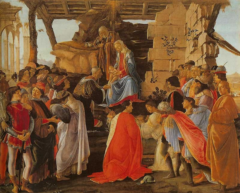 "Sandro Botticelli,     ""  Adoration of the Magi,"" 1475     (  Uffizi Gallery, Florence, Italy)."
