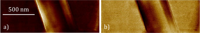 Figure 3: Piezo-Force microscopy a) amplitude and b) phase images of an individual PLLA nanowire