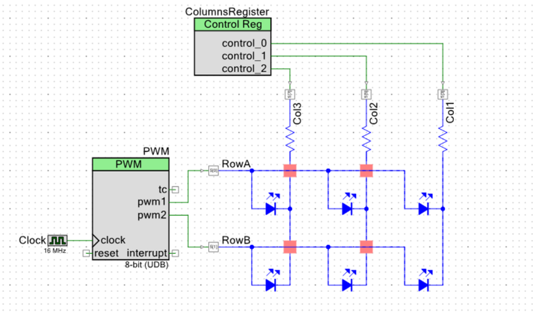 Figure 5: A schematic of the circuit used to develop the matrix addressing scheme
