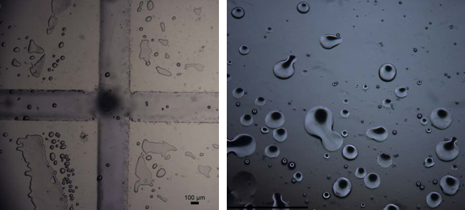 Figure 10:  Prototype microfluidic chip. (Right) Liquid contained within channels when plastic cover placed between top and bottom acrylic components. (Left) Water in oil droplets produced from chip.