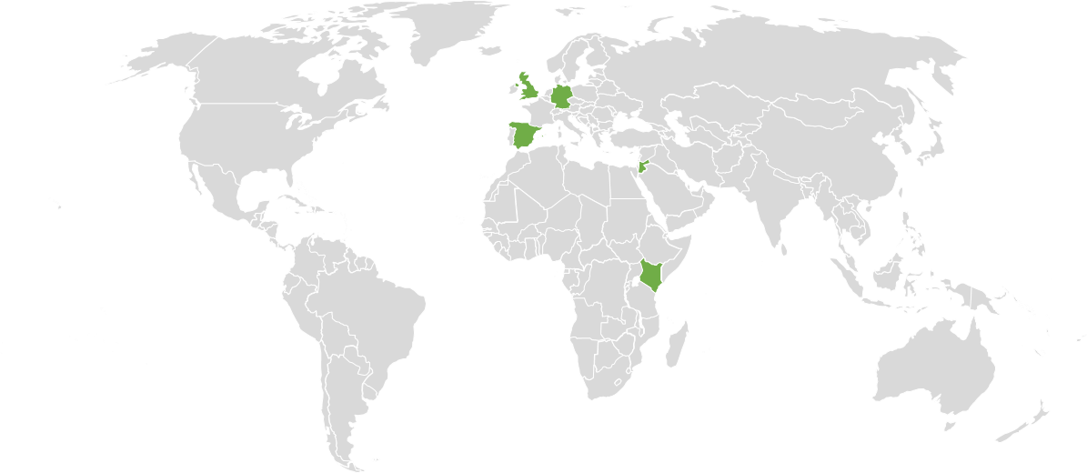 Map highlighting the countries where the Accessible 3D Molecular Models have arrived.