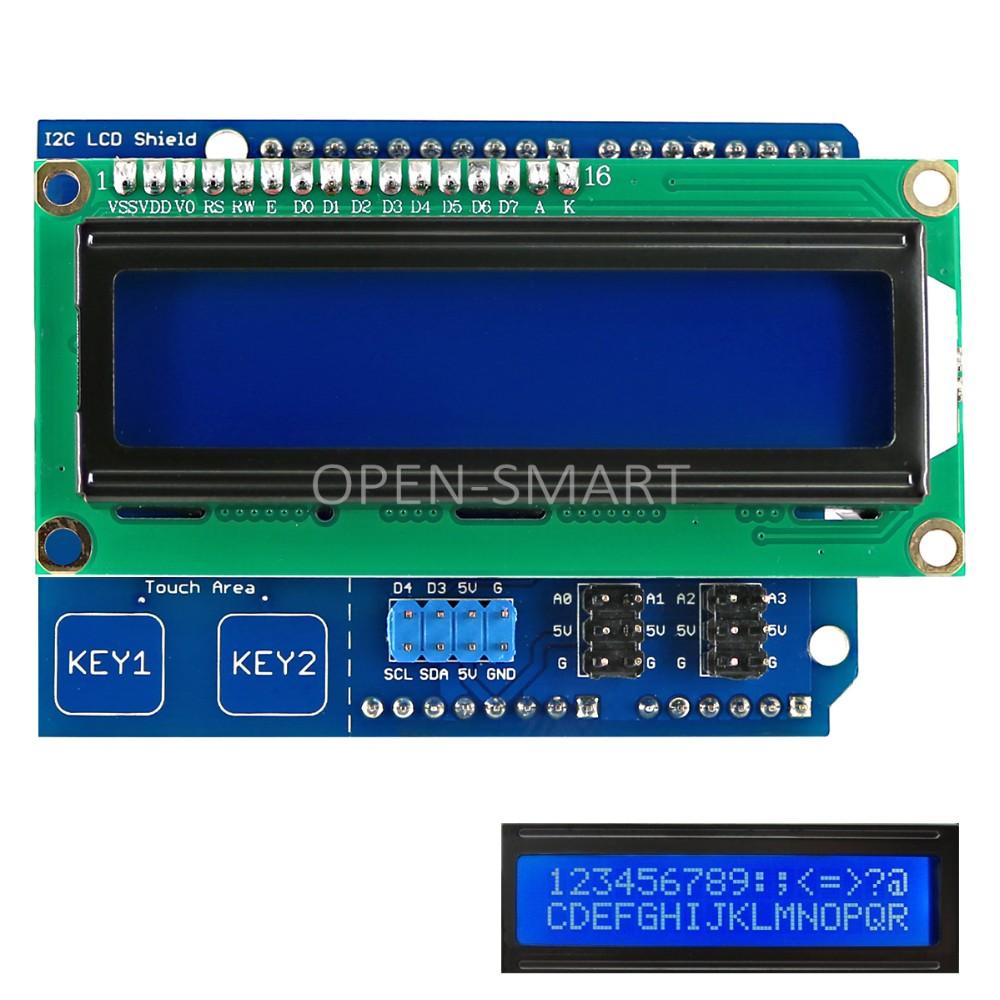 Arduino shield with I2C 16x2 LCD display