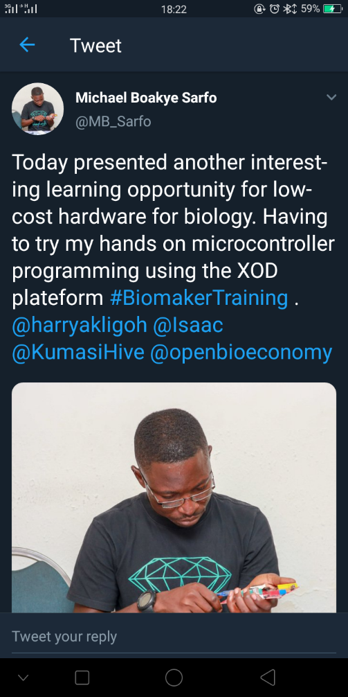 Michael Boakye Sarfo one of the ten participants testifying about the Biomaker training programme.