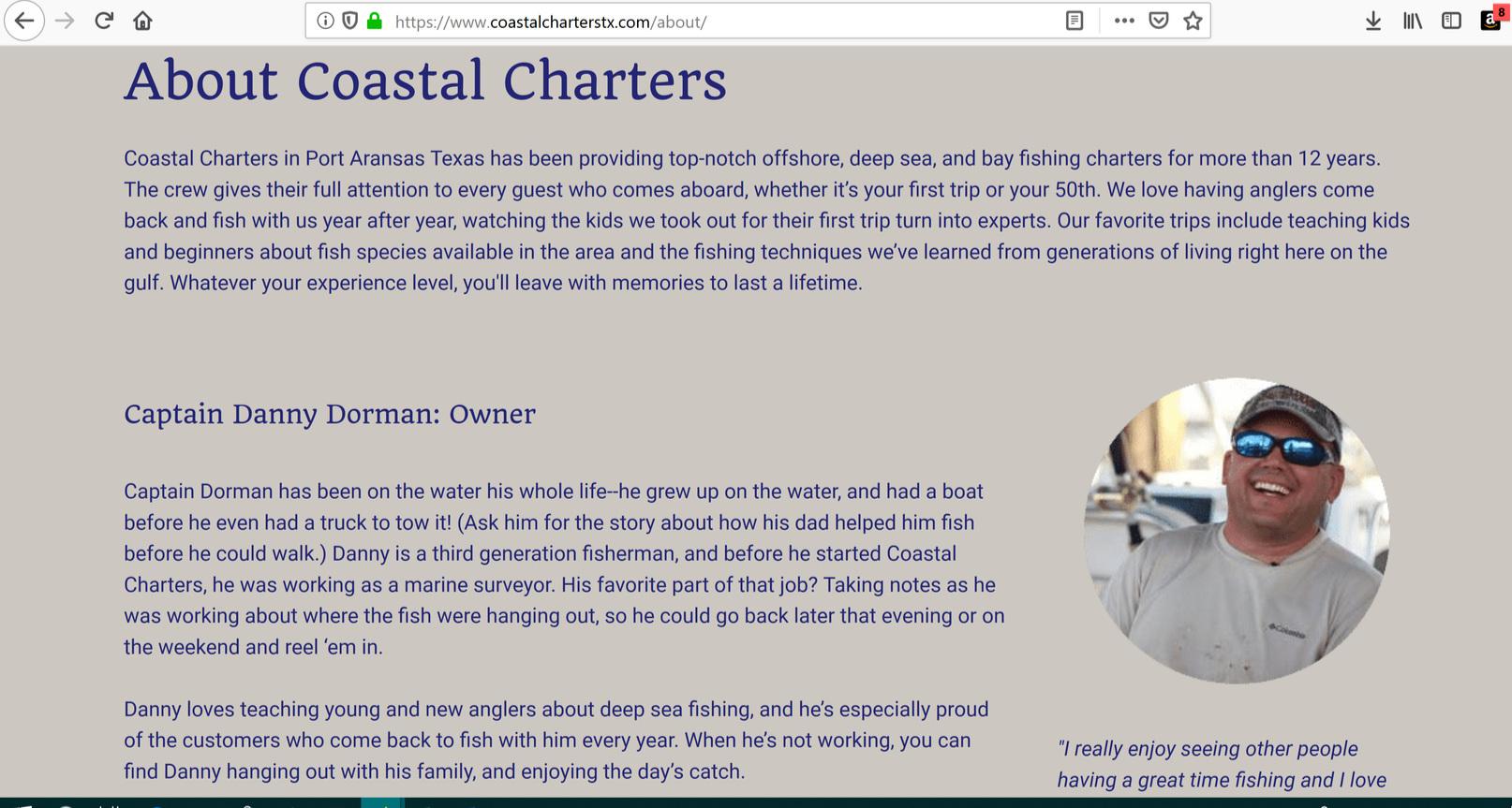 Deep Sea Fishing Website Copy