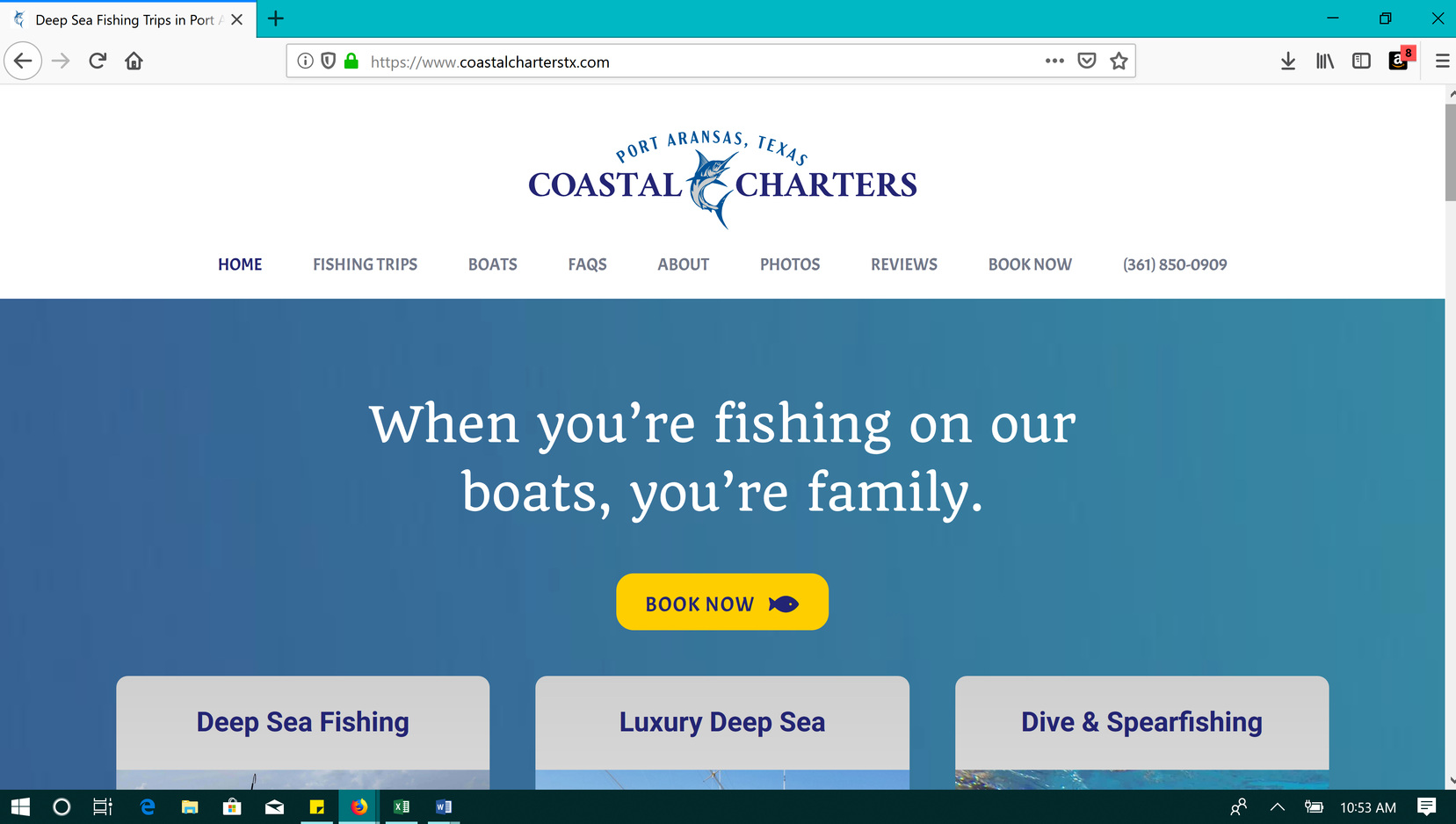 Deep Sea Fishing Website Copy