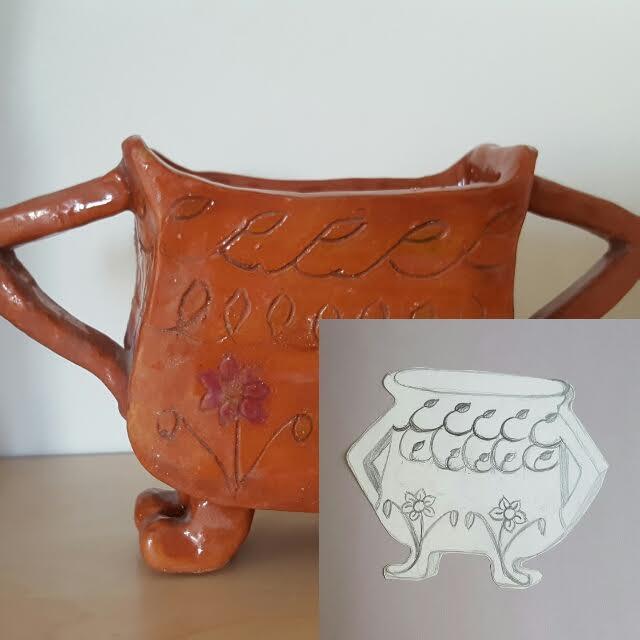 Mitt första brända keramikföremål från barndomen. Jag fick beröm för att den blev exakt som skissen. Nu har min dotter den på sitt rum.