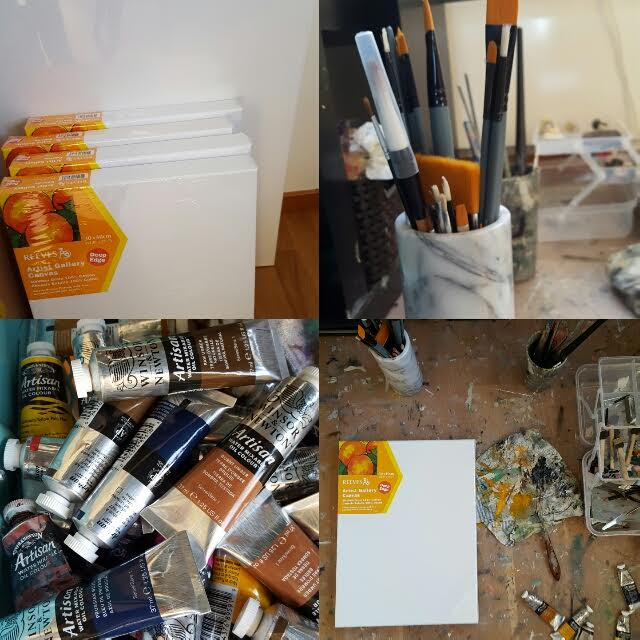 Påfyllt med nya målardukar, penslar och färger. Härligt!