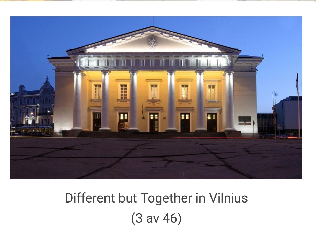 Samlingsutställningen i Vilnius stadshus i Litauen, där två av mina tavlor finns med.  Bild: Artnecto