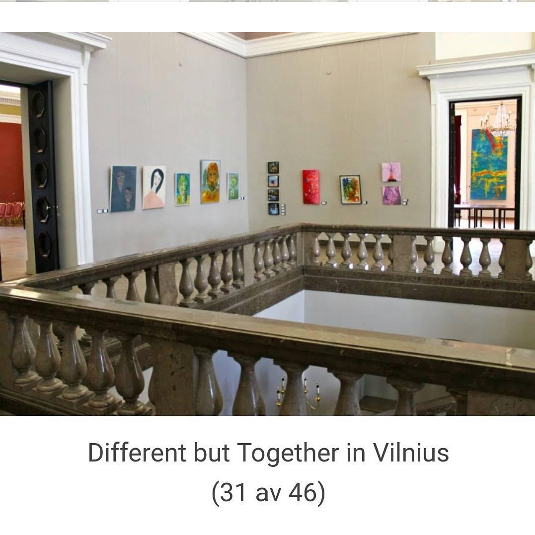 Mina två tavlor längst till vänster i bild, inne i Vilnius stadshus. Bild: Artneco