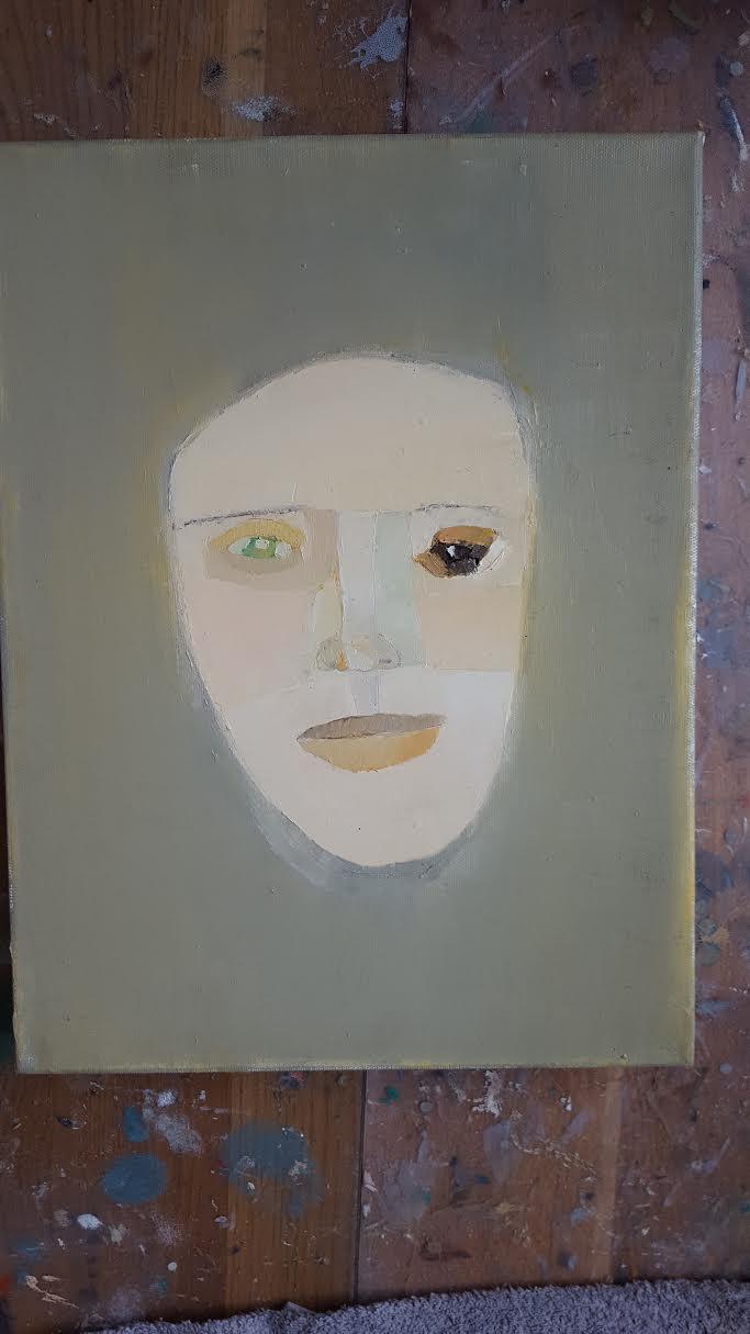 Ny målning på gång...närbild, 30 x 40 cm i olja.