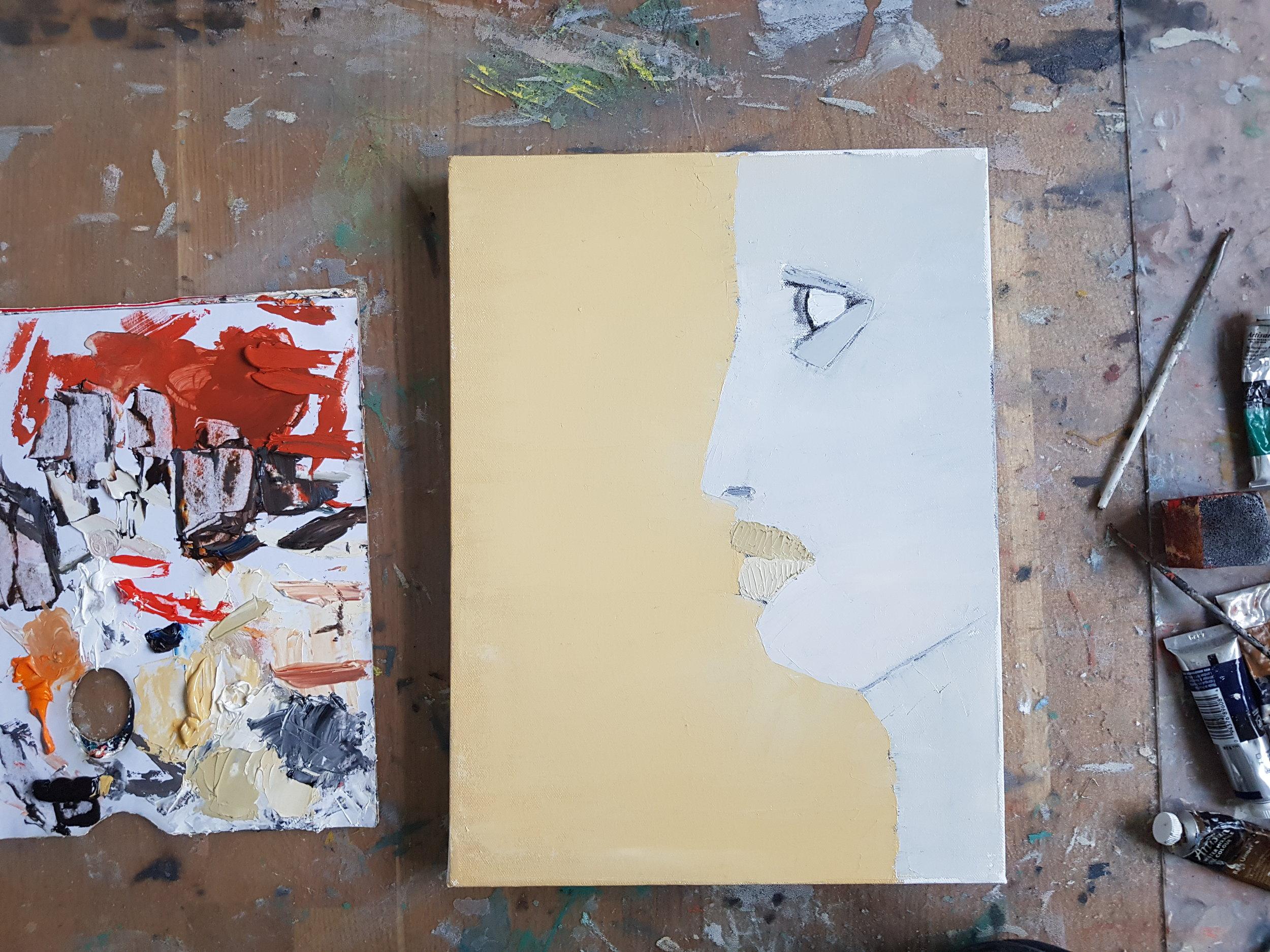 Tavla på gång, med bara tre färger (Neapelgul, vitt och svart), 30 x 40 cm i olja.