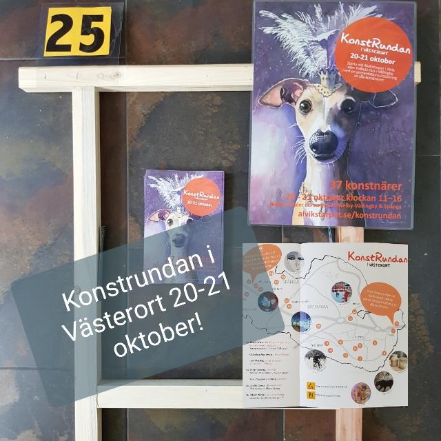 Deltar i Konstrundan i Västerort, 20-21 oktober, kl 11-16. Jag har nummer 25!