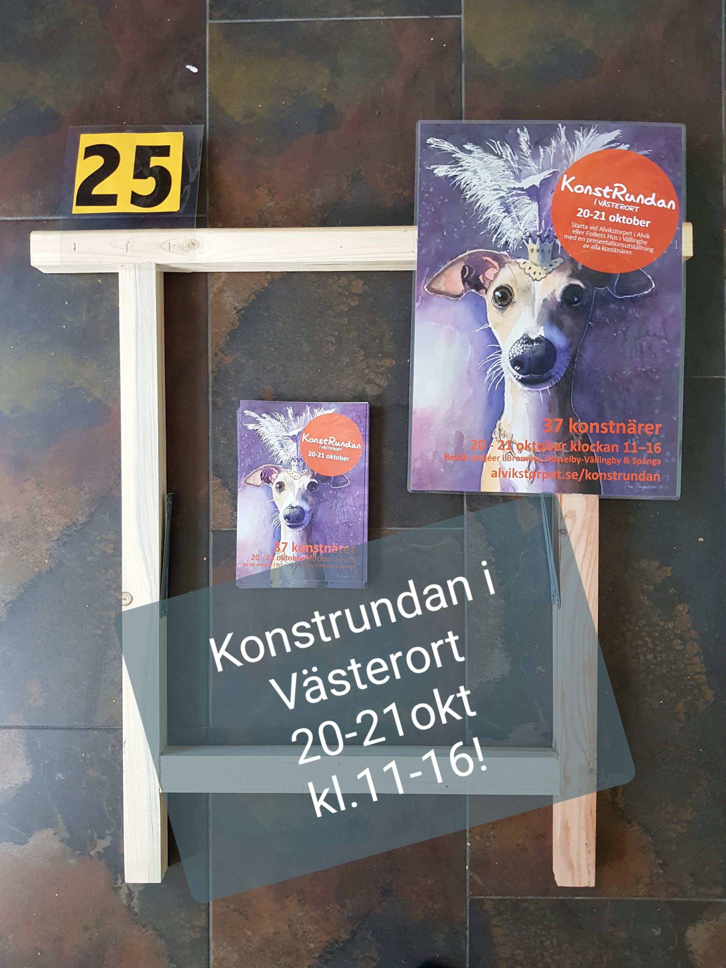 Jag deltar i år i Konstrundan i Västerort, 20-21 oktober, kl.11-16 båda dagarna.