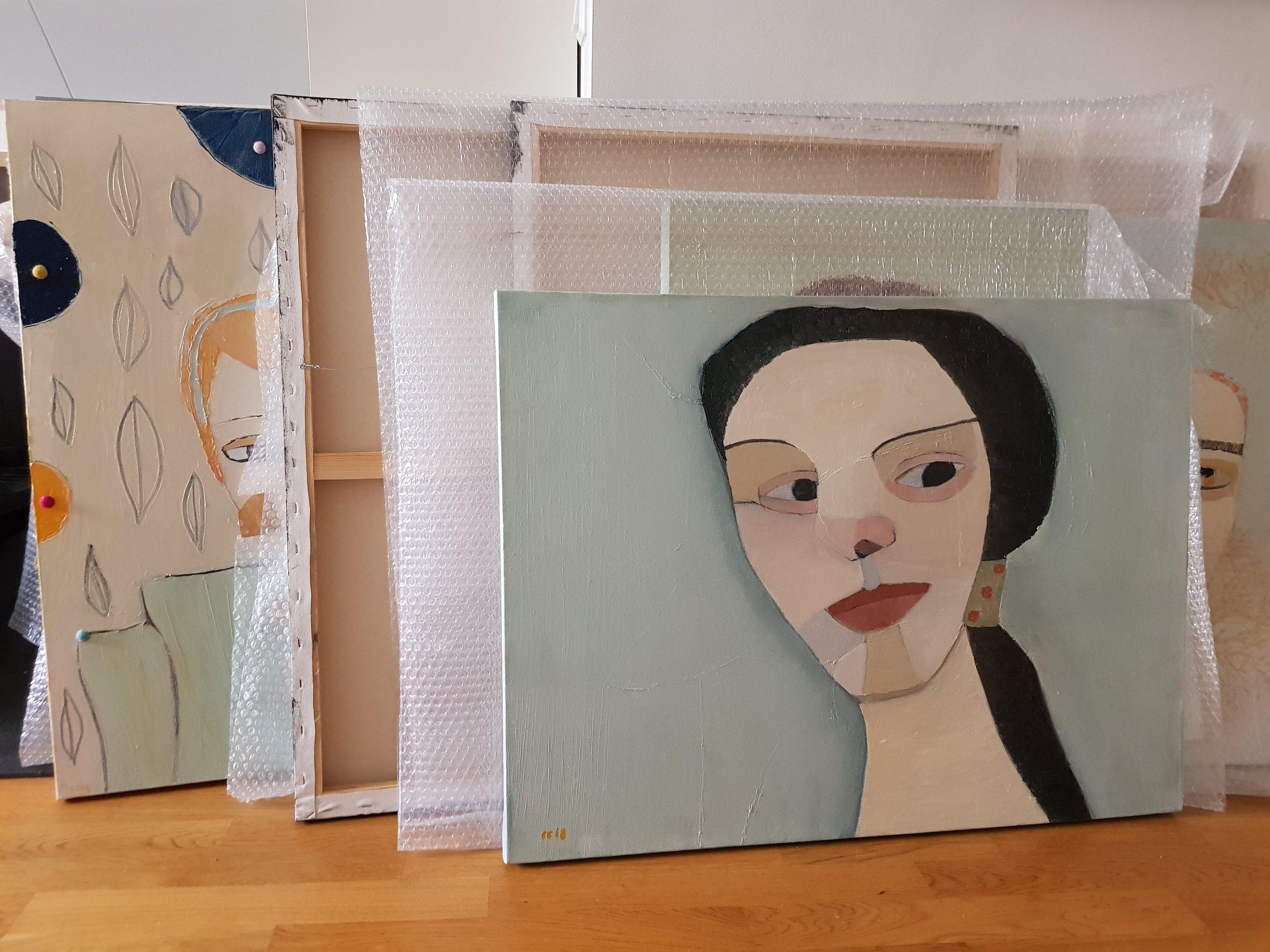 Börjar välja ut tavlor, ordnar hänganordning osv inför utställningen på Museet Kvarnen. Främst en ödmjuk hommage till Paul Modersohn Becker, 60 x 80 cm i olja.