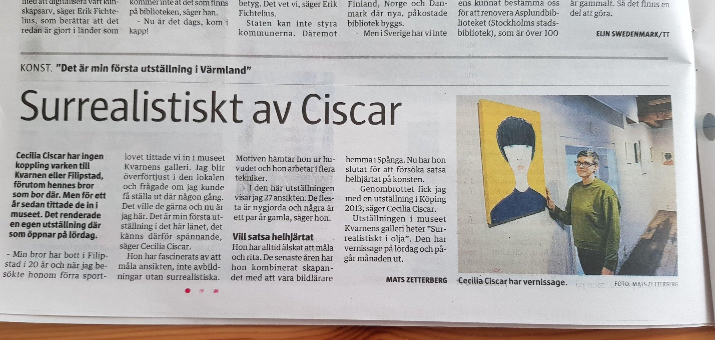 Värmlands Folkblad 8 mars 2019