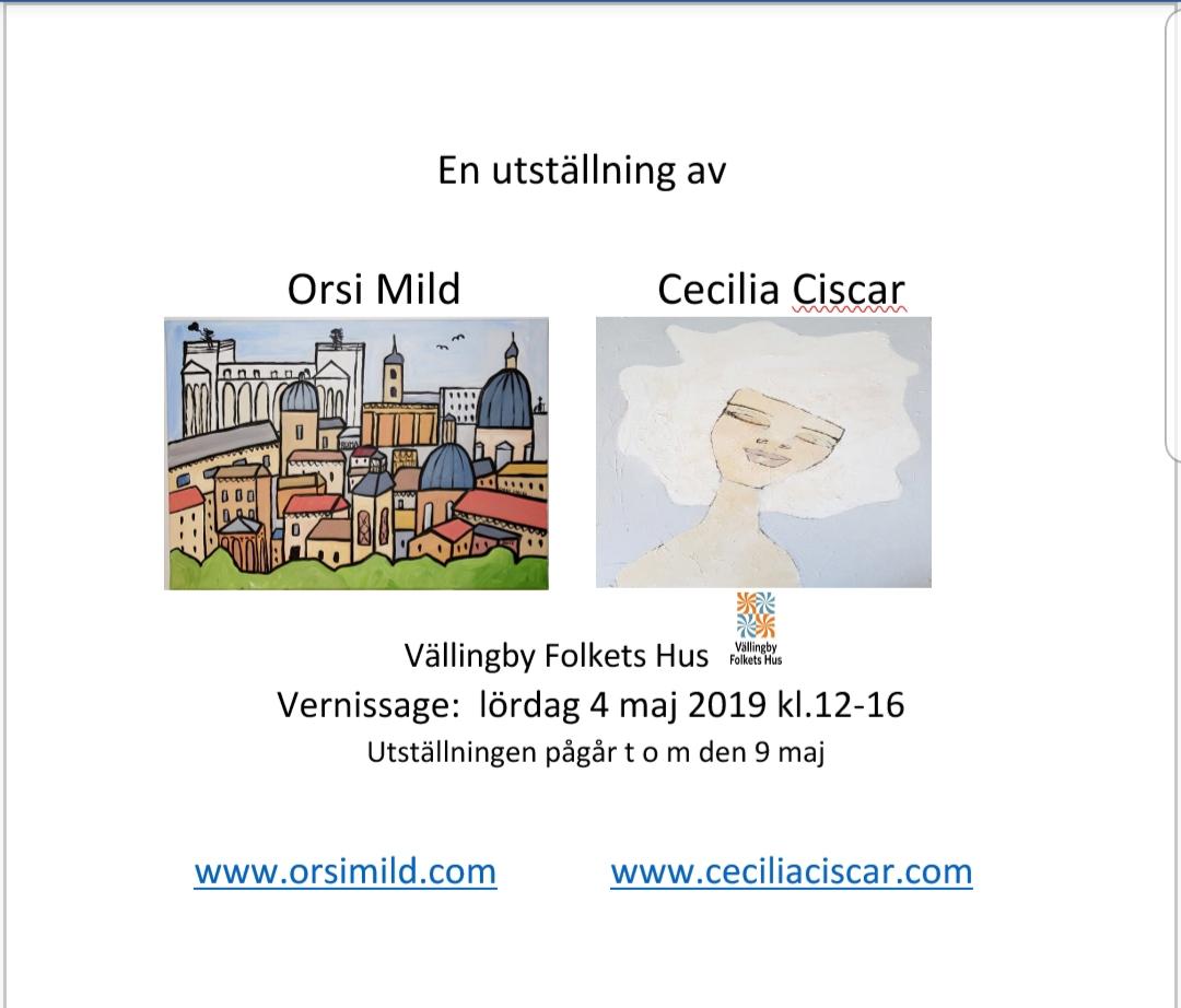 Orsi MIld och jag har utställning snart tillsammans, det ser jag fram emot!
